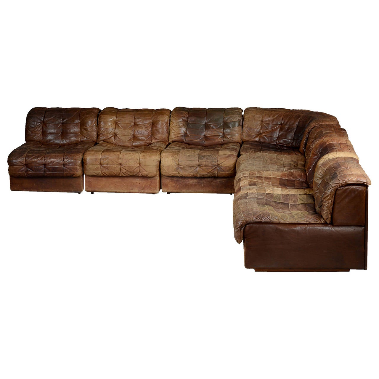 Seven-Section Leather Patchwork Sofa by De Sede at 1stdibs