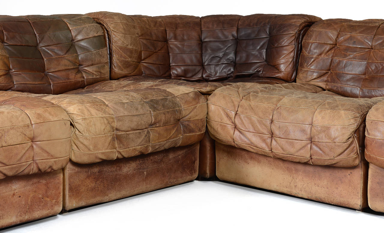 Seven Section Leather Patchwork Sofa By De Sede At 1stdibs