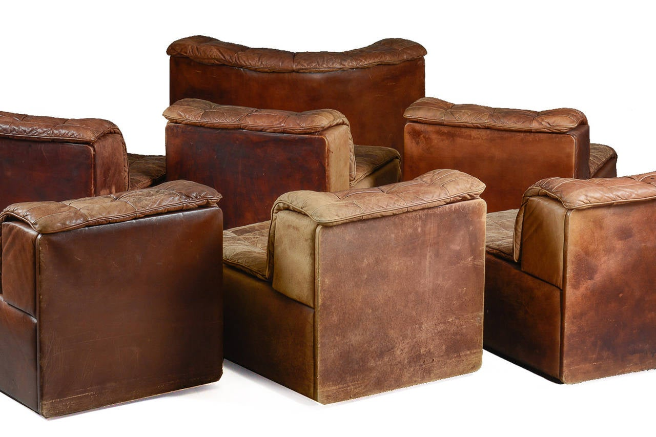 Seven section leather patchwork sofa by de sede at 1stdibs for Sofa patchwork