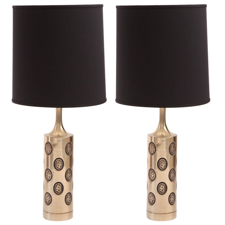 Pair of Stunning Embossed Brass Table Lamps by Laurel