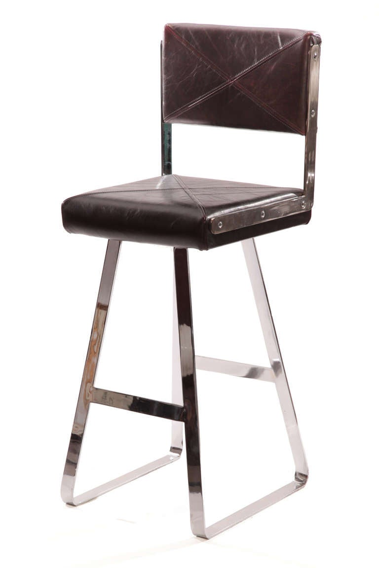 Three Flat Bar Chrome And Leather Barstools For Sale At