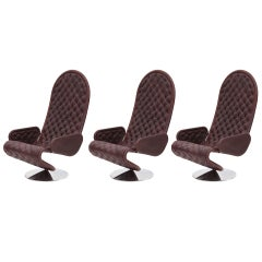 Verner Panton Large-scale 1970s Brown Leather 123 Chairs