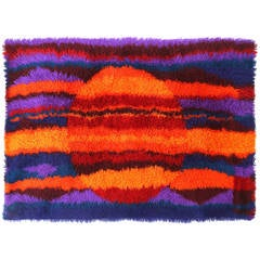 Vibrant Shag or Rya Rug from Norway