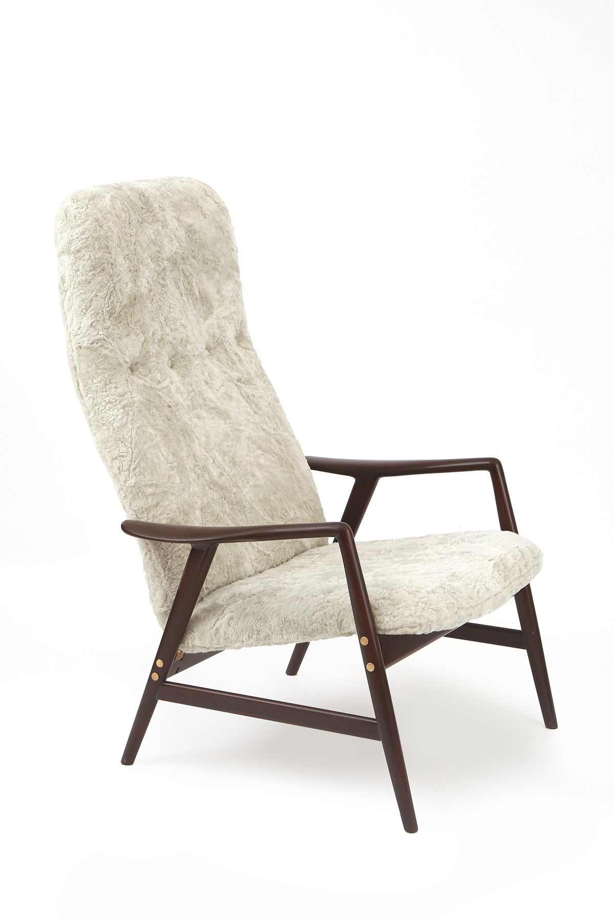 Sculptural Teak Brass And Upholstered Danish Lounge Chair And Ottoman At 1stdibs