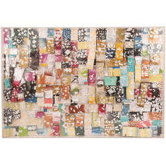 Massive Hand-Painted Foil and Lucite Collage