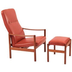 Teak and Leather Lounge Chair and Ottoman