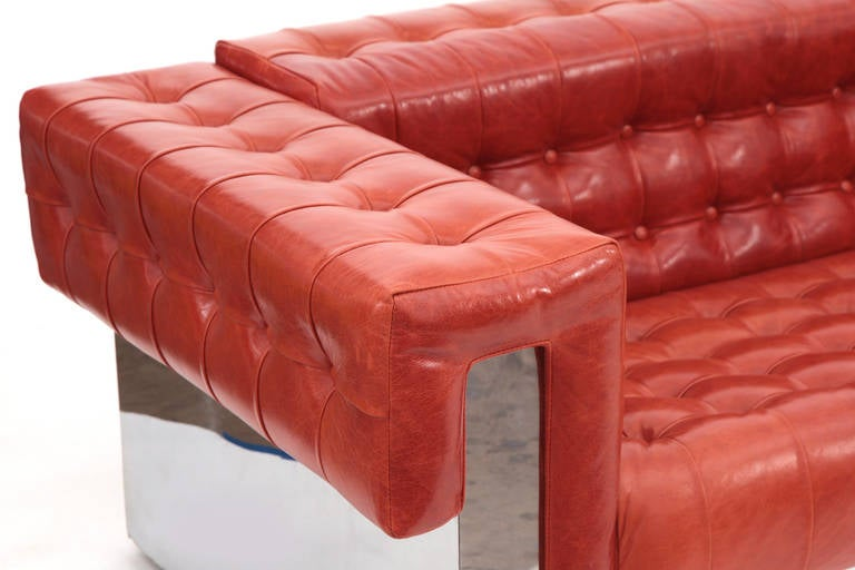 Pair Of Milo Baughman Mirrored Chrome And Leather Sofas At