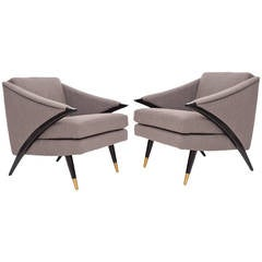 Sculptural Pair of Upholstered and Ebonized Lounge Chairs