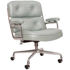 Pearl Blue Leather Eames Time Life Chair