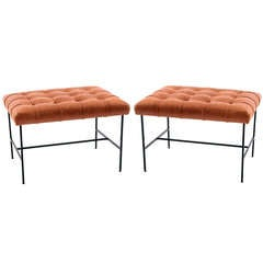 Pair of Iron & Patinated Leather Ottomans