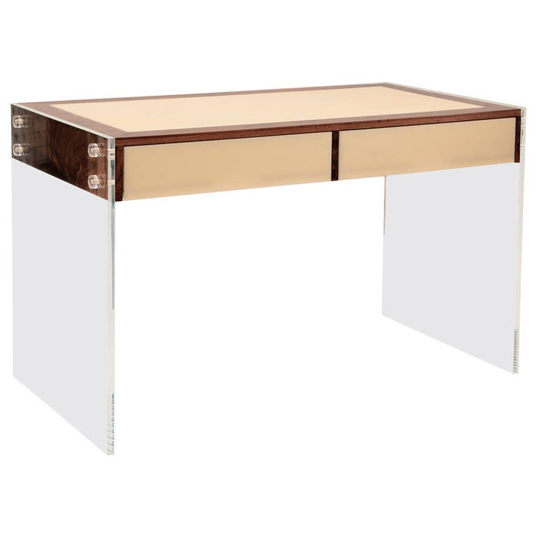 Lucite and walnut floating desk at 1stdibs for Floating desk for sale