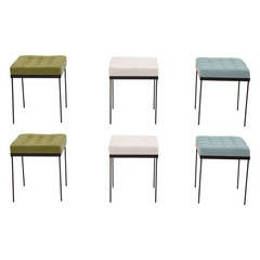 Set of Six 1950s Tufted Leather and Iron Ottomans