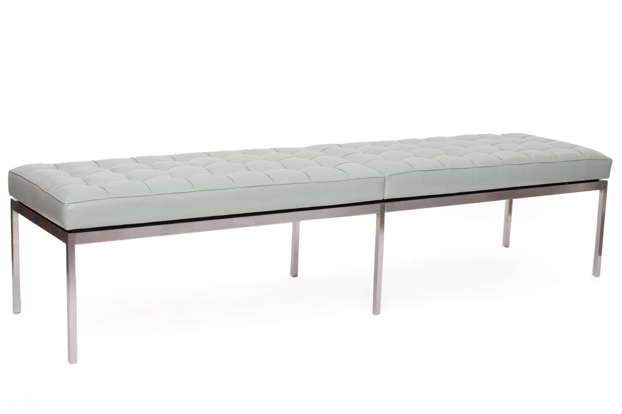Florence Knoll Leather And Stainless 6 5 39 Bench At 1stdibs