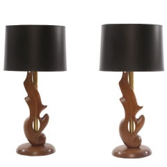 Sculptural Oak and Brass Table Lamps by Heifetz
