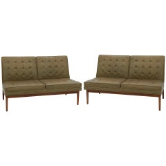 Jens Risom Knoll Green Tufted Leather Sofas