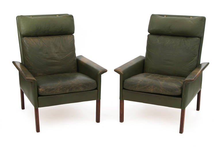 Patinated Olive Green Leather Lounge Chairs By Hans Olsen At 1stdibs