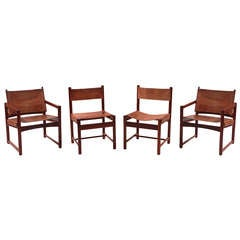 Rare Imbuia & Leather Sling Chairs by Michel Arnoult
