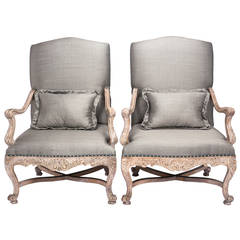 French Louis XV Style Large Carved Wood Upholstered  Armchairs