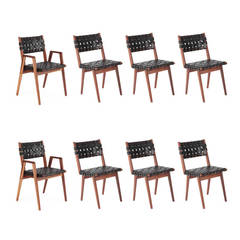 Eight Mel Smilow Walnut and Leather Dining Chairs