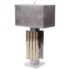 Glamorous Chrome Brass and Lucite Table Lamp