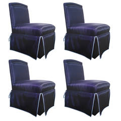 Connoisseur 'Onassis' Designer Slipper Dining Chairs-Exotic Horsehair & Leather