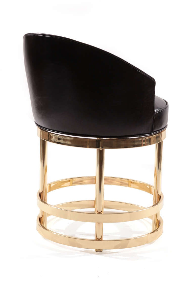 Three Leather And Mirror Polished Brass Swivel