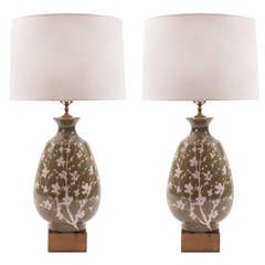 Large-Scale Pair of Italian Floral Motif and Brass Lamps