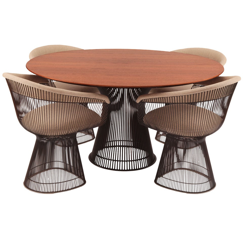 Warren platner knoll bronze dining table and chairs at stdibs