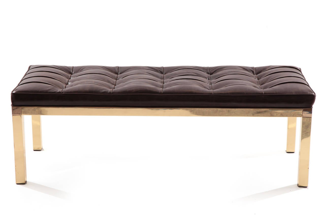 Elegant Brass And Tufted Leather Bench At 1stdibs