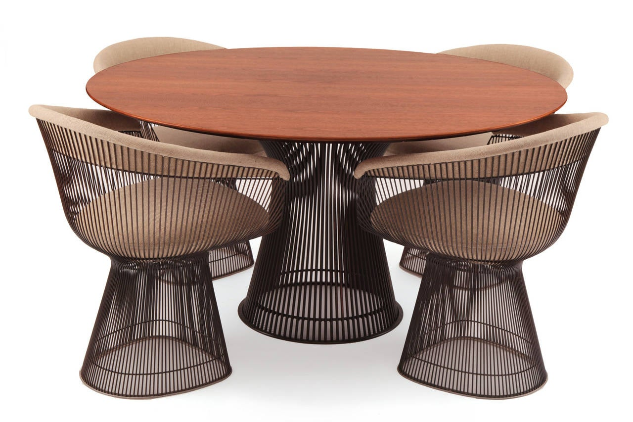 Warren platner knoll bronze dining table and chairs at 1stdibs for Table warren platner