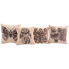 Four Embroidered Peruvian Pillows