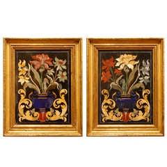 True Pair of Italian 19th Century Pietra Dura Plaques