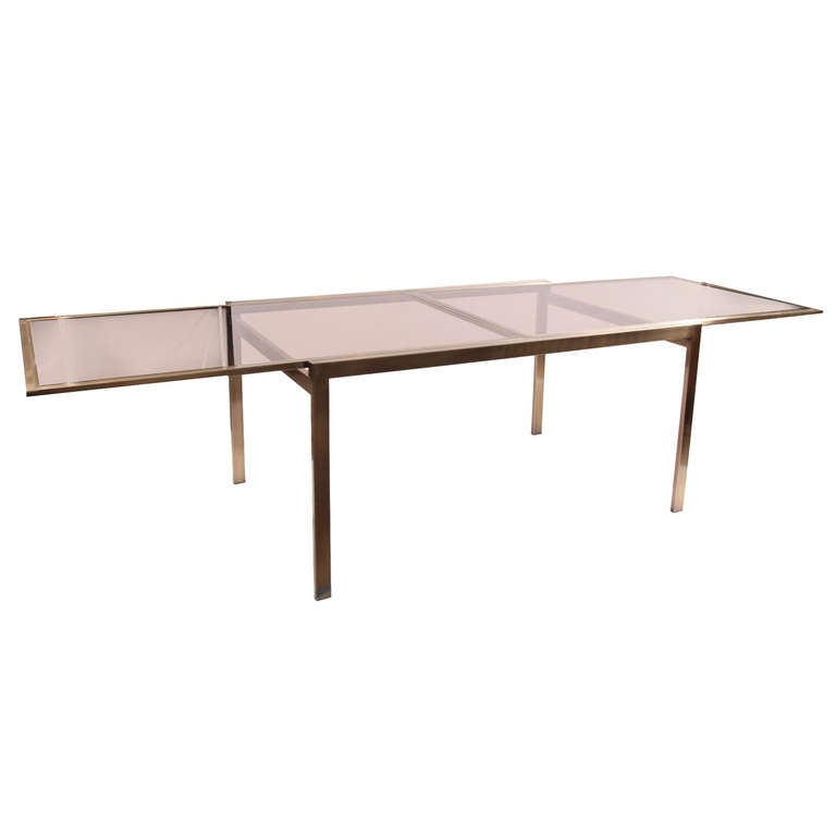satin bronze and glass extension dining table by dia at