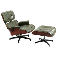 Early Eames Green Leather and Rosewood Lounge Chair and Ottoman