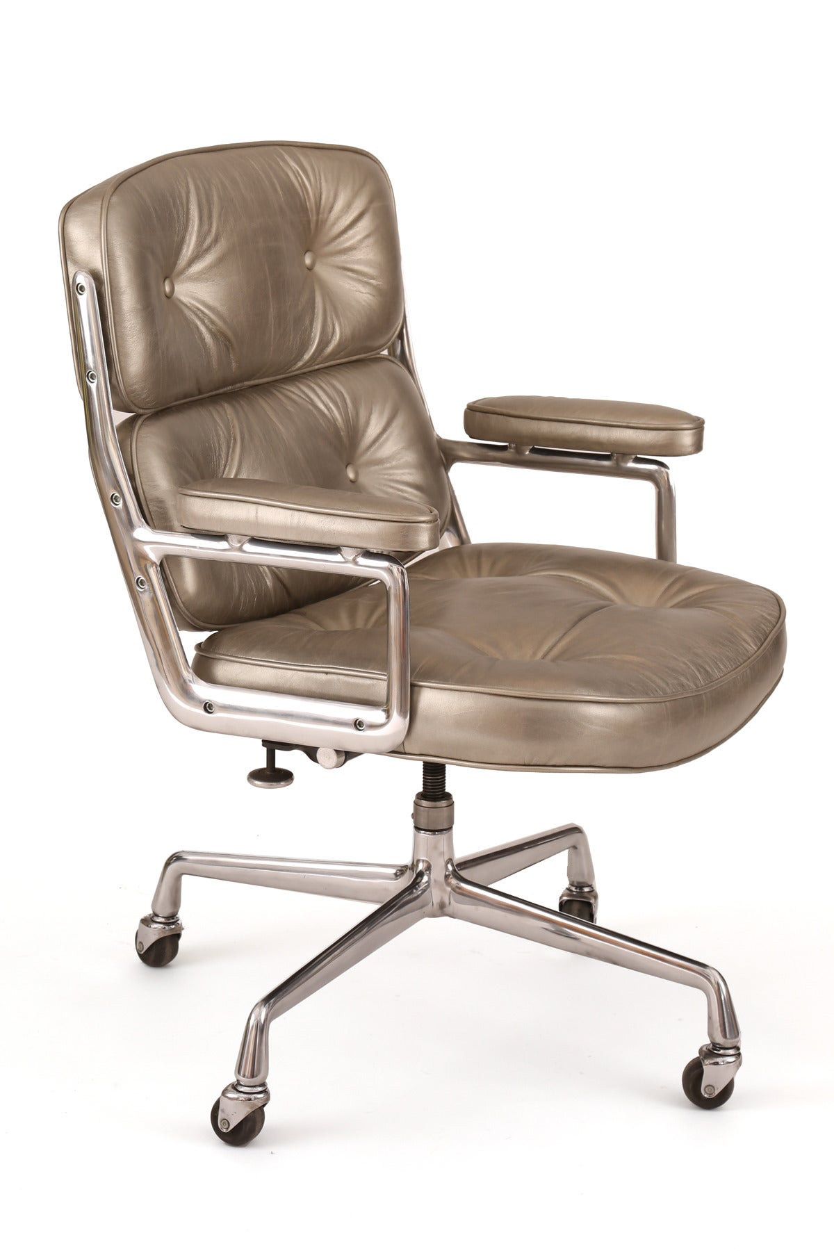 silver leather eames for herman miller time life office chair image 2