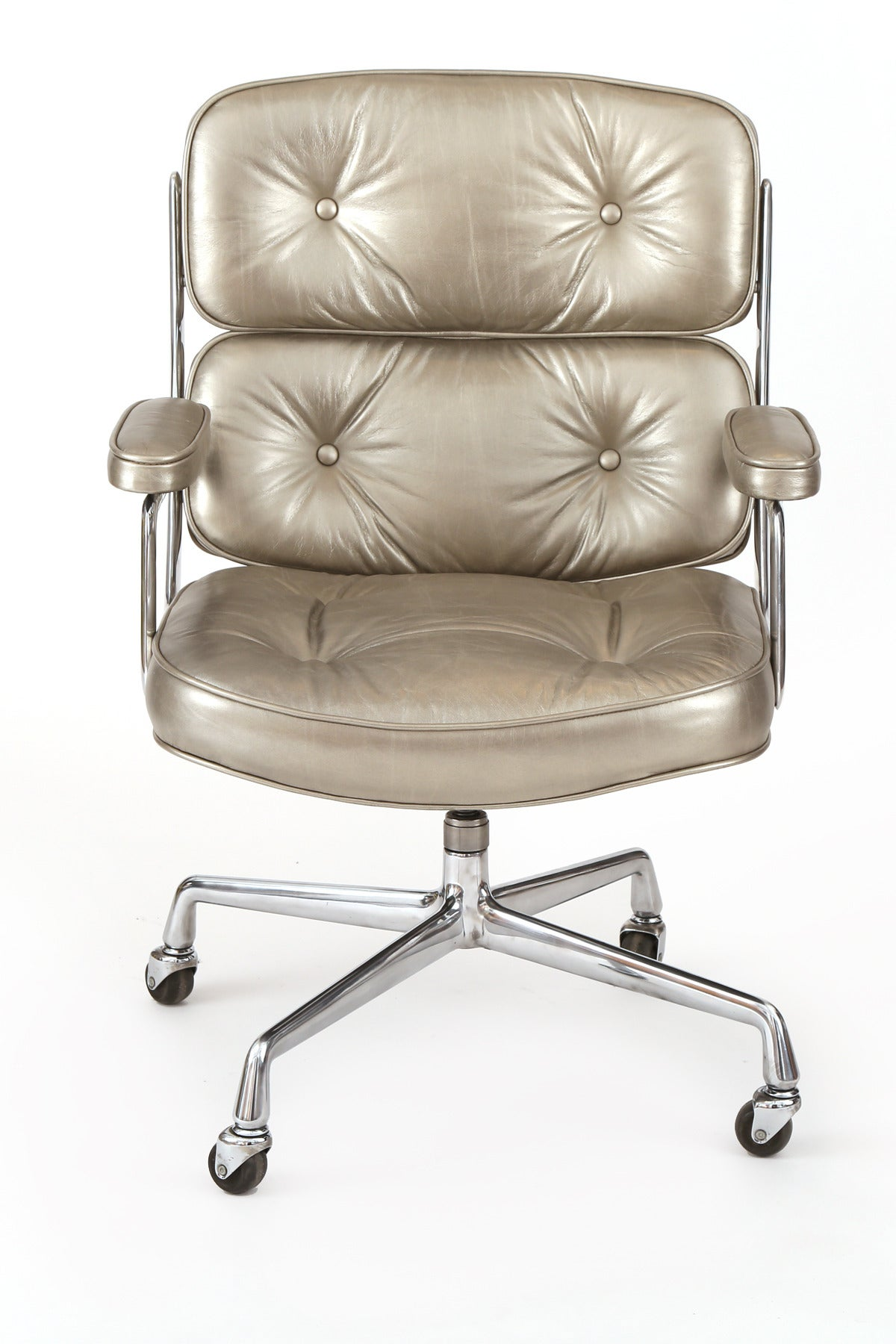 silver leather eames for herman miller time life office chair image 3