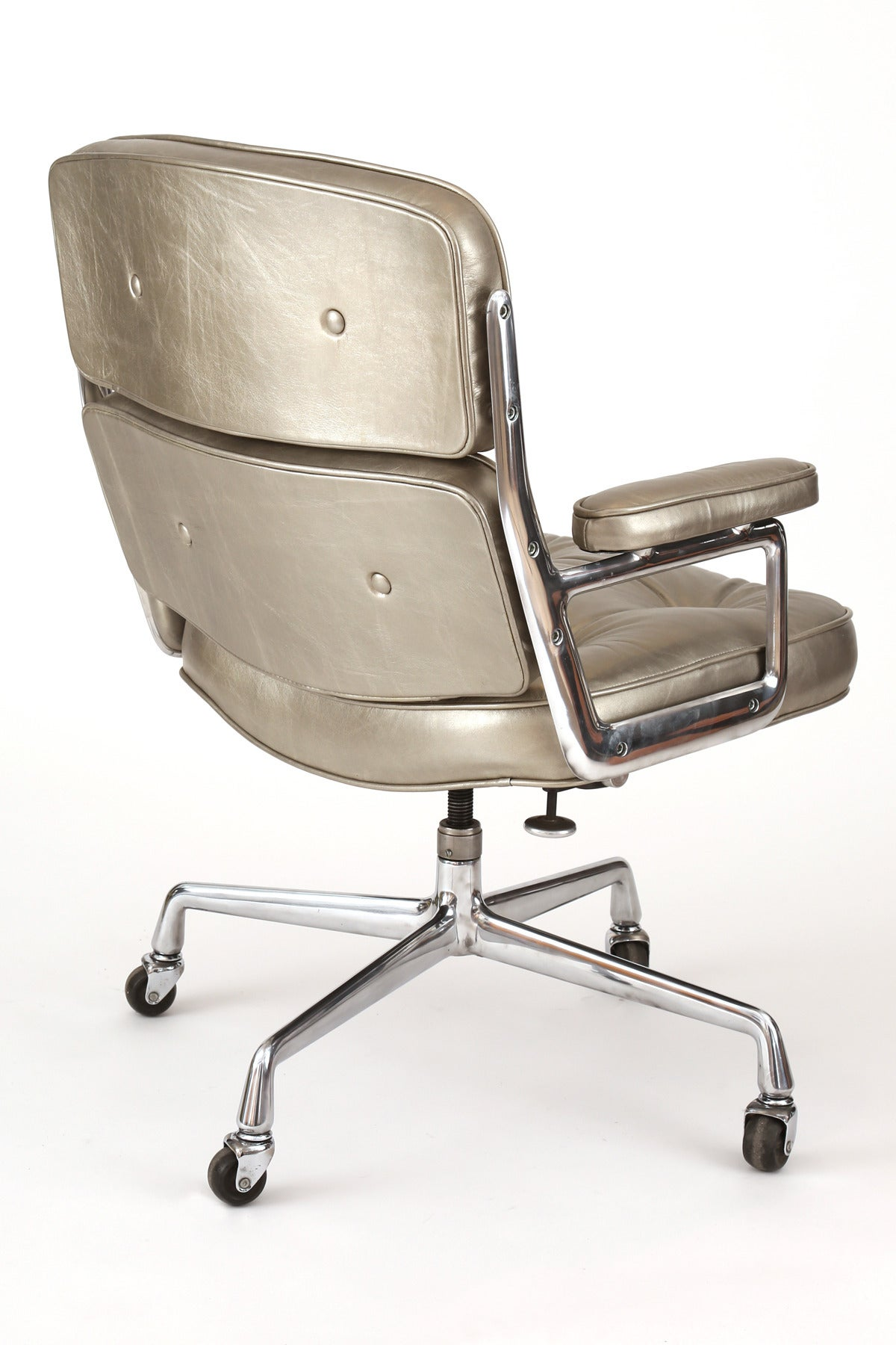 silver leather eames for herman miller time life office chair image 5
