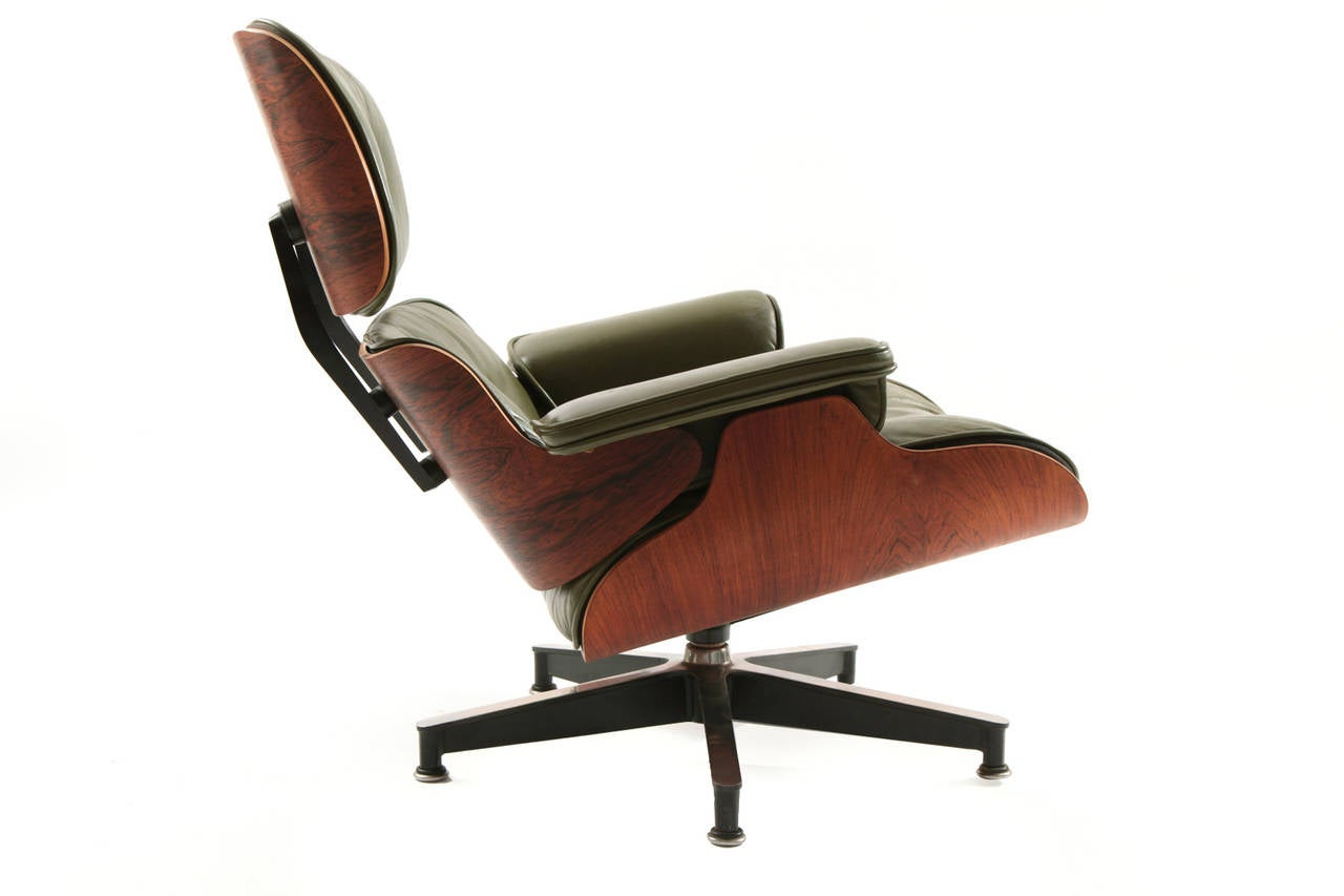 Early Eames Green Leather And Rosewood Lounge Chair And