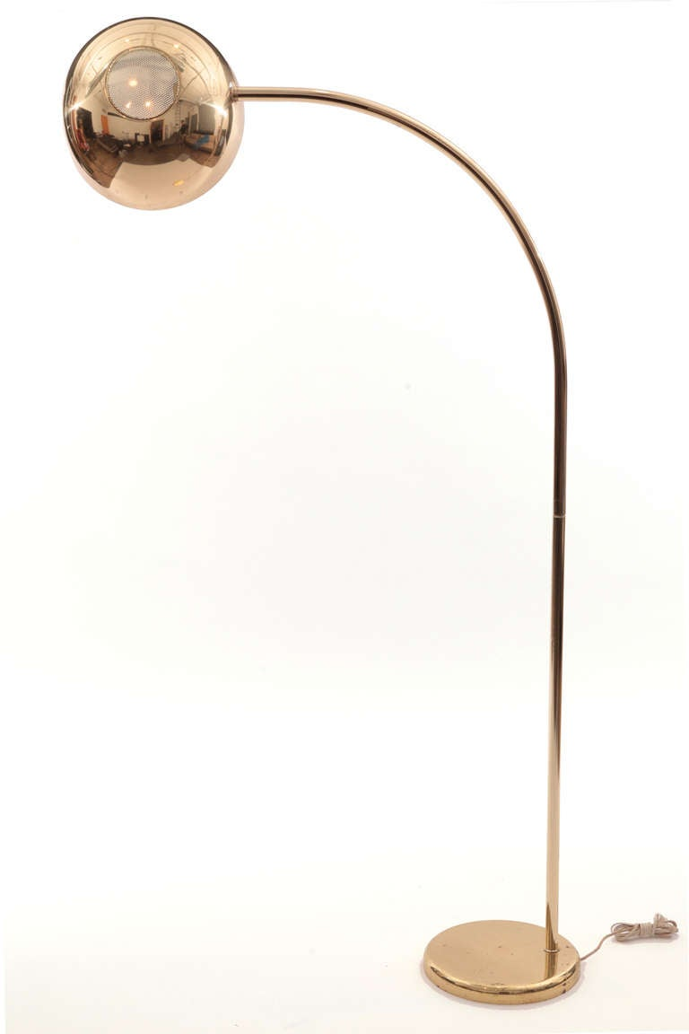 pair of brass italian arc floor lamps at 1stdibs. Black Bedroom Furniture Sets. Home Design Ideas