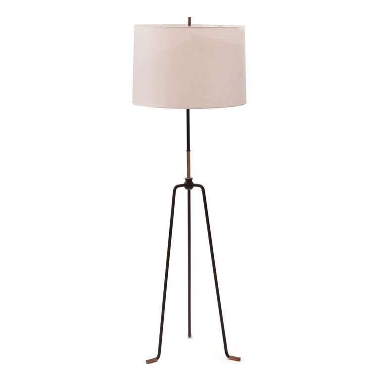 195039s iron and brass tripod floor lamp at 1stdibs for 1950 s brass floor lamp