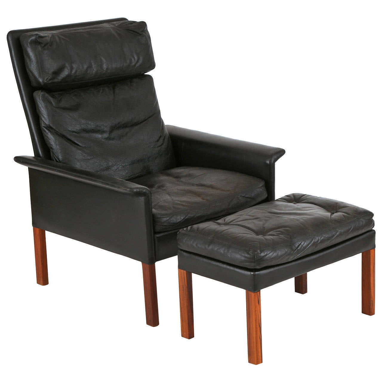 Hans Olsen Leather And Rosewood Lounge Chair And Ottoman 1