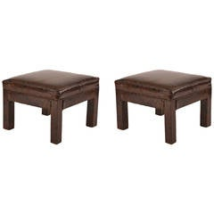 Pair of Patinated Spotted Leather Ottomans