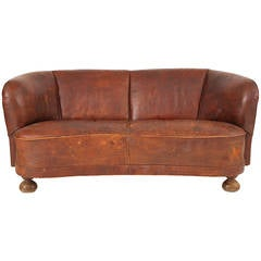 1930s Free-Form Danish Leather Sofa After Flemming Lassen