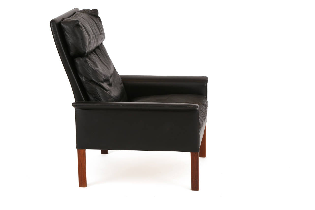Mid-Century Modern Hans Olsen Leather and Rosewood Lounge Chair and Ottoman For Sale