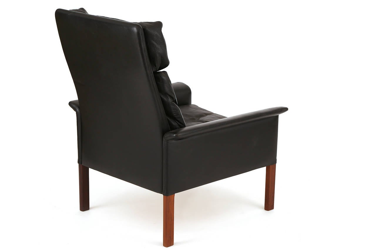 Danish Hans Olsen Leather and Rosewood Lounge Chair and Ottoman For Sale