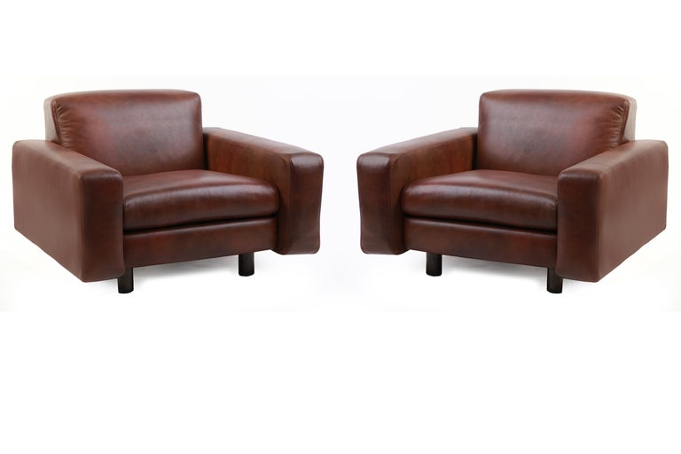 Four Metropolitan Leather And Bronze Lounge Chairs For