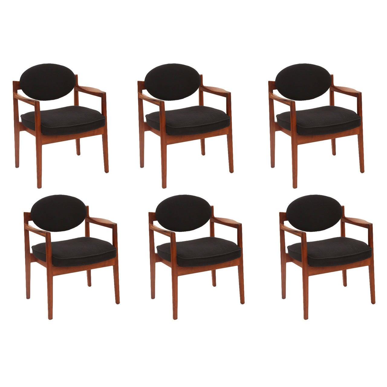 Six Sculpted Walnut Armchairs by Jens Risom