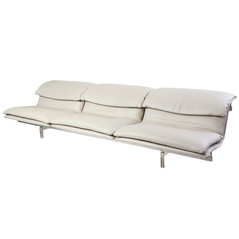 Phenomenal Saporiti Stainless Steel And Mercedes Leather Sofa At 1stdibs
