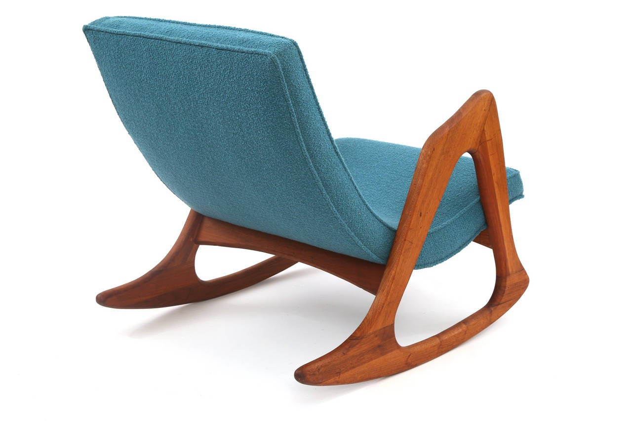 Adrian Pearsall Walnut and Upholstered Rocking Chair For