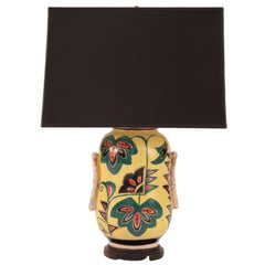 Painted Porcelain and Ebonized Wood Japanese Lamp